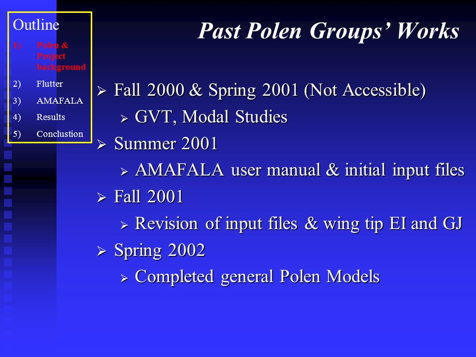 Project Objectives  Research flutter and analyze past data  Learn AMAFALA  Add components to the Polen model  Ailerons (Case 1)  Fuel Tanks [Wet Wing] (Case 2, Case 3) (Case 2, Case 3) Outline 1)Polen & Project background 2)Flutter 3)AMAFALA 4)Results 5)Conclusion