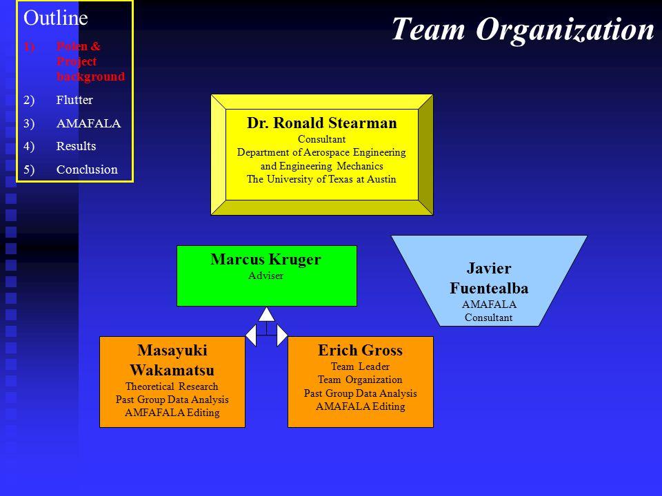 Team Organization Dr. Ronald Stearman Consultant Department of Aerospace Engineering and Engineering Mechanics The University of Texas at Austin Marcu