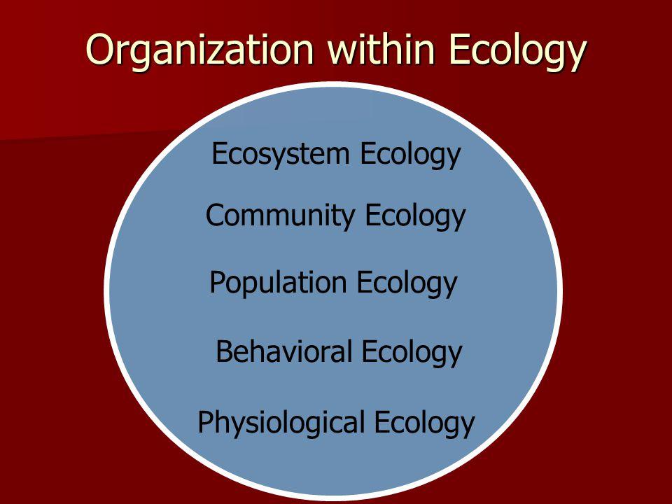 Organization within Ecology Ecosystem Ecology Physiological Ecology Population Ecology Community Ecology Behavioral Ecology