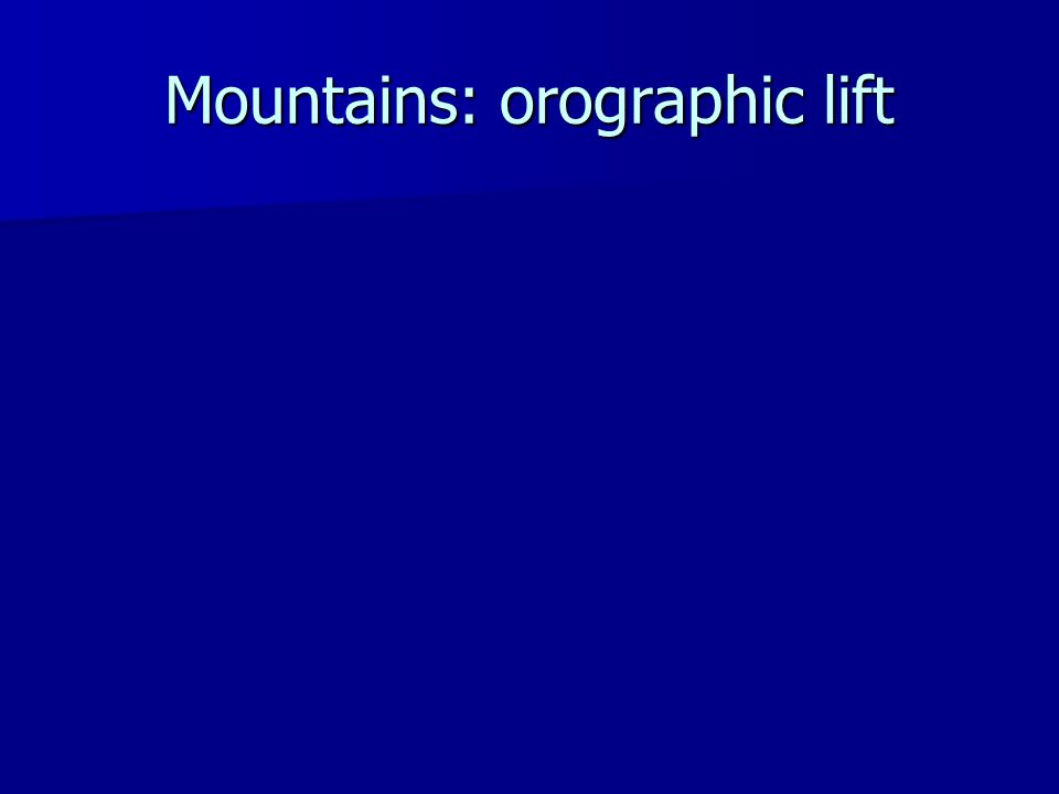 Mountains: orographic lift