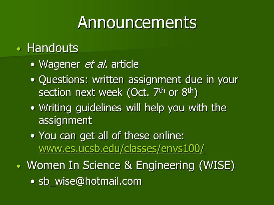 Announcements Handouts Handouts Wagener et al. articleWagener et al.
