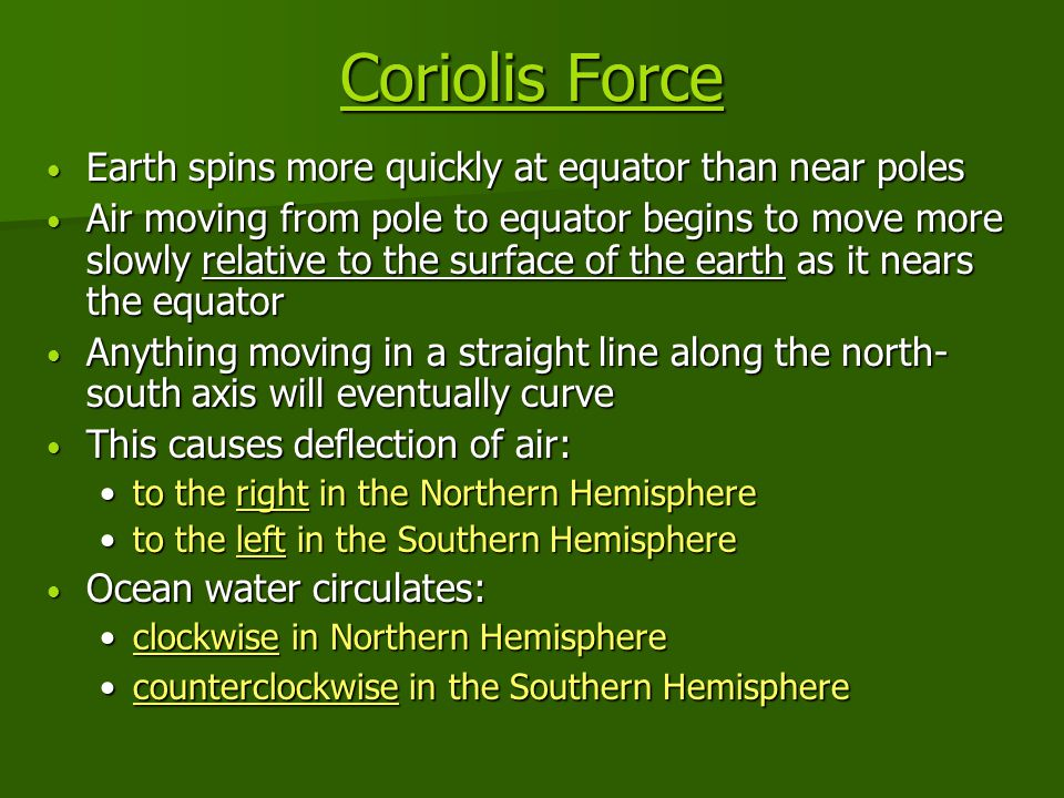 Coriolis Force Coriolis Force Earth spins more quickly at equator than near poles Earth spins more quickly at equator than near poles Air moving from pole to equator begins to move more slowly relative to the surface of the earth as it nears the equator Air moving from pole to equator begins to move more slowly relative to the surface of the earth as it nears the equator Anything moving in a straight line along the north- south axis will eventually curve Anything moving in a straight line along the north- south axis will eventually curve This causes deflection of air: This causes deflection of air: to the right in the Northern Hemisphereto the right in the Northern Hemisphere to the left in the Southern Hemisphereto the left in the Southern Hemisphere Ocean water circulates: Ocean water circulates: clockwise in Northern Hemisphereclockwise in Northern Hemisphere counterclockwise in the Southern Hemispherecounterclockwise in the Southern Hemisphere