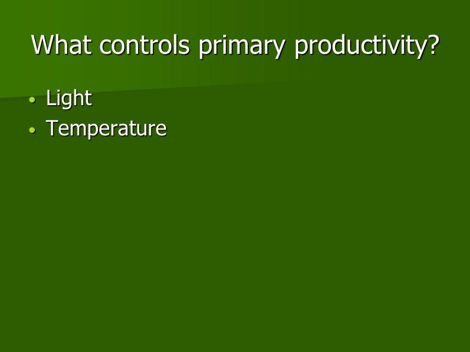 What controls primary productivity Light Light Temperature Temperature