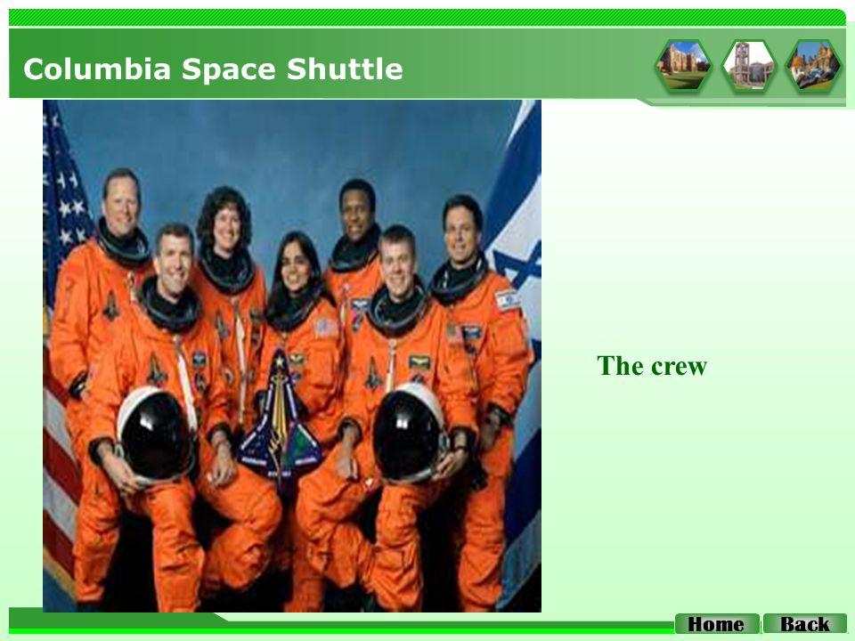 Columbia Space Shuttle Home Back The crew