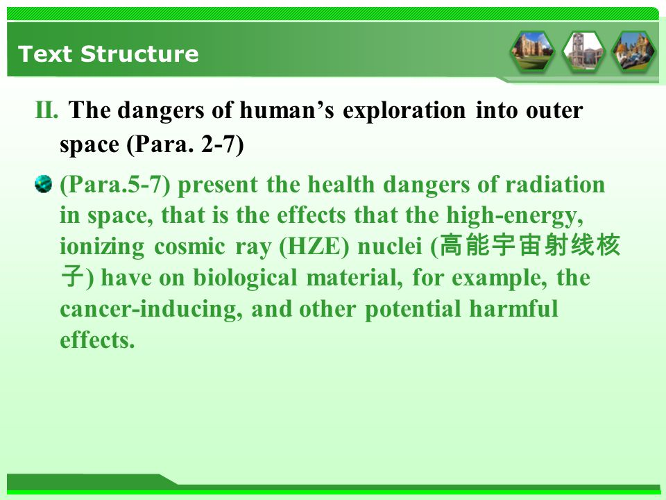 Text Structure II. The dangers of human's exploration into outer space (Para.