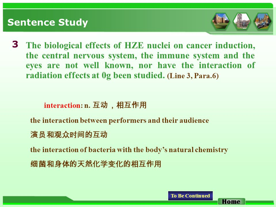 Sentence Study The biological effects of HZE nuclei on cancer induction, the central nervous system, the immune system and the eyes are not well known, nor have the interaction of radiation effects at 0g been studied.
