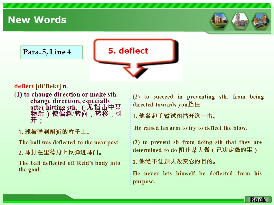 deflect [di'flekt] n. (1) to change direction or make sth. change direction, especially after hitting sth. (尤指击中某 物后)使偏斜 / 转向;转移,引 开; New Words 5. def