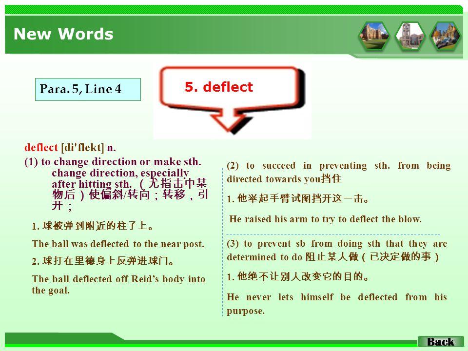 deflect [di flekt] n. (1) to change direction or make sth.
