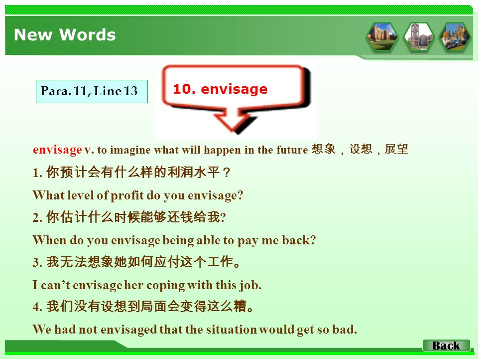 envisage v. to imagine what will happen in the future 想象,设想,展望 New Words 10.