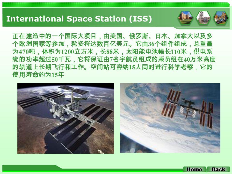 International Space Station (ISS) 正在建造中的一个国际大项目,由美国、俄罗斯、日本、加拿大以及多 个欧洲国家等参加,耗资将达数百亿美元。它由 36 个组件组成,总重量 为 470 吨,体积为 1200 立方米,长 88 米,太阳能电池幅长 110 米,供电系 统的功