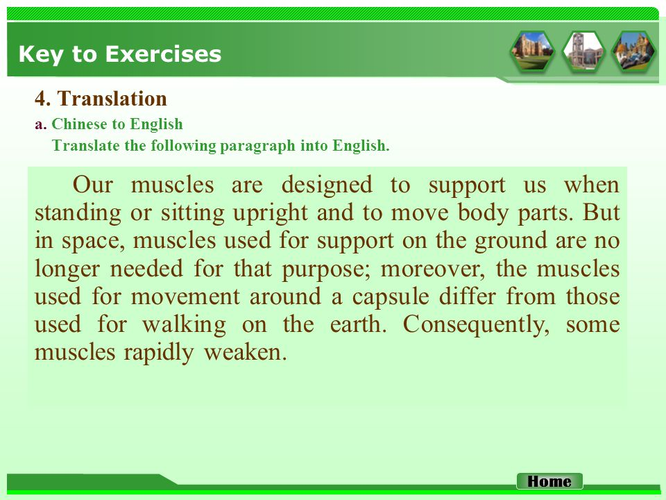 Key to Exercises 4. Translation a. Chinese to English Translate the following paragraph into English. Our muscles are designed to support us when stan