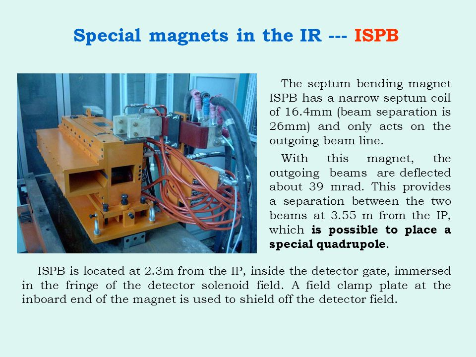 Special magnets in the IR --- ISPB With this magnet, the outgoing beams are deflected about 39 mrad.