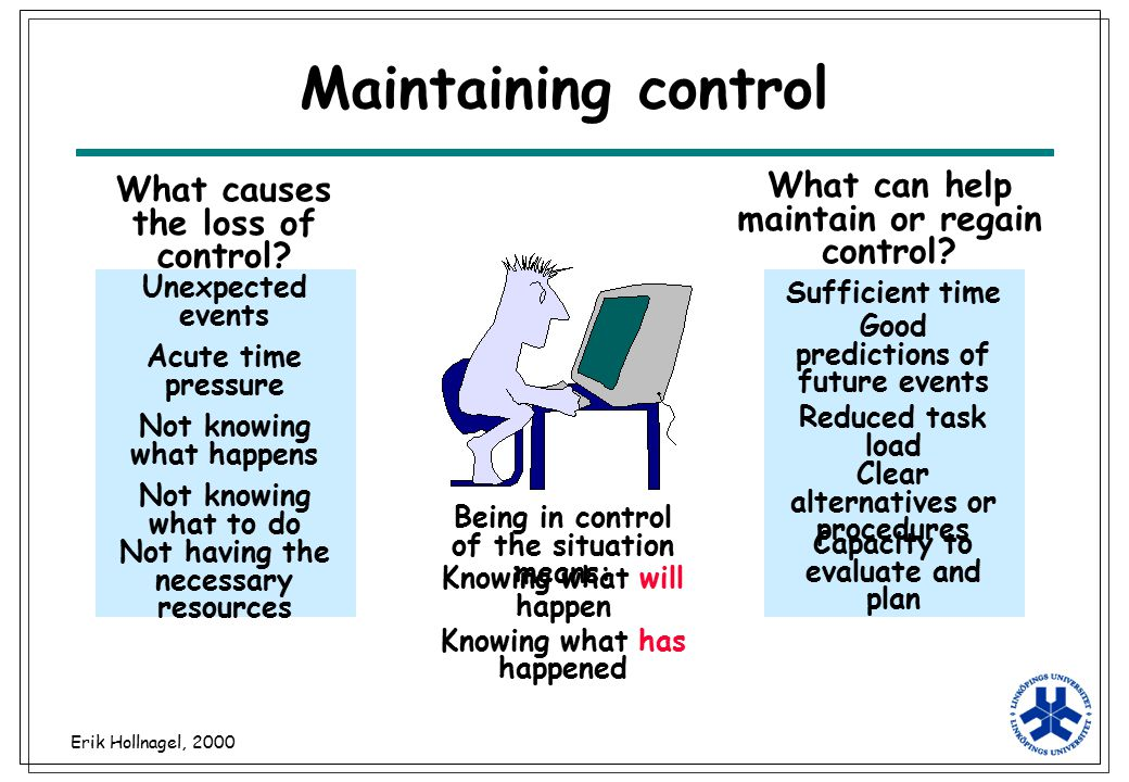 Erik Hollnagel, 2000 Maintaining control Being in control of the situation means: What causes the loss of control? What can help maintain or regain co