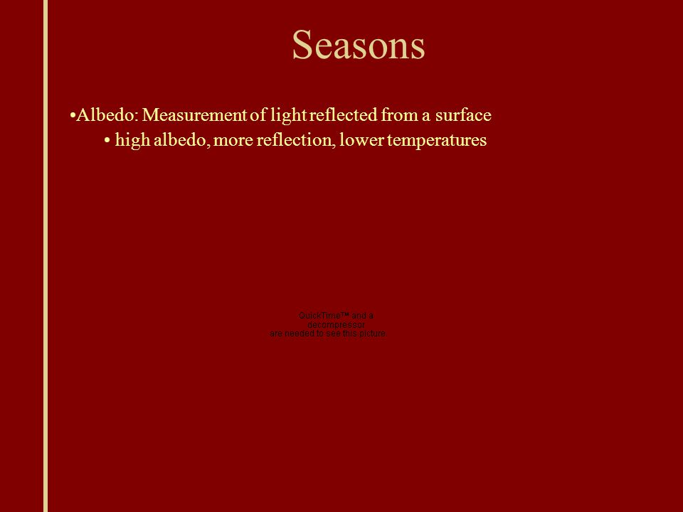 Seasons Albedo: Measurement of light reflected from a surface high albedo, more reflection, lower temperatures