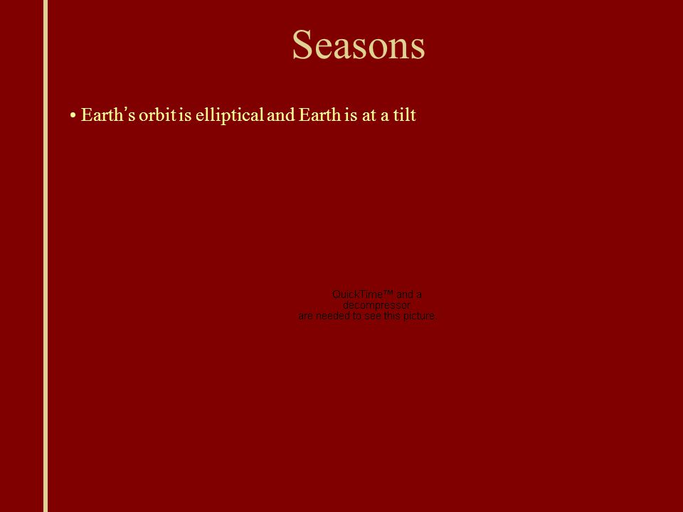 Seasons Earth ' s orbit is elliptical and Earth is at a tilt