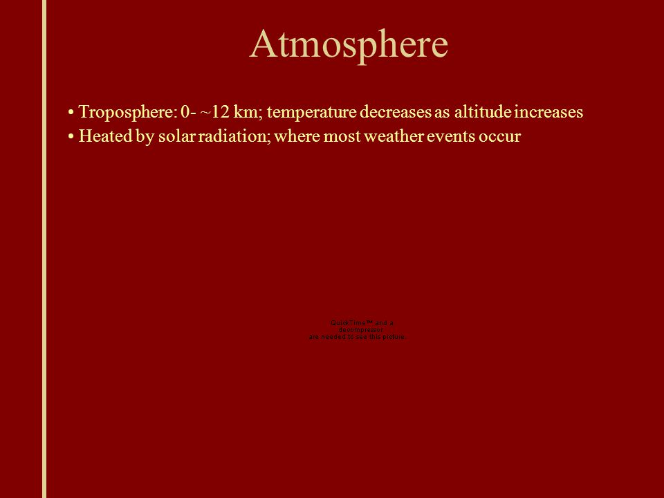 Atmosphere Troposphere: 0- ~12 km; temperature decreases as altitude increases Heated by solar radiation; where most weather events occur