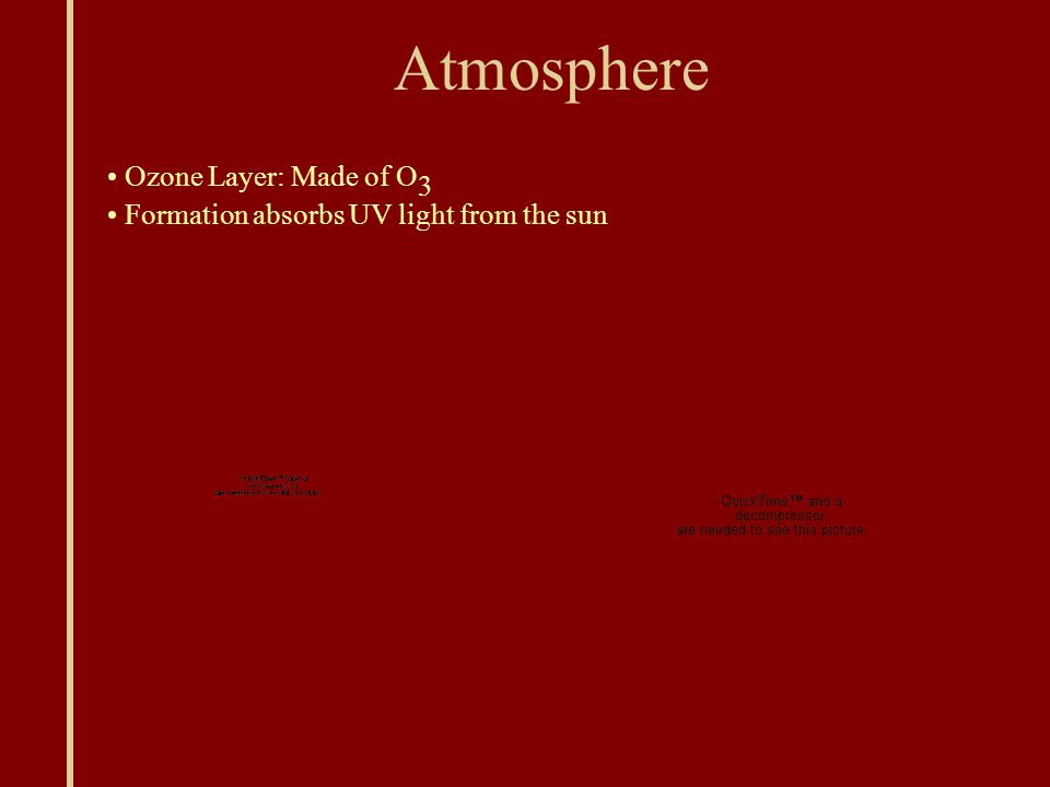 Atmosphere Ozone Layer: Made of O 3 Formation absorbs UV light from the sun