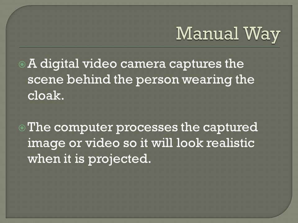  A digital video camera captures the scene behind the person wearing the cloak.