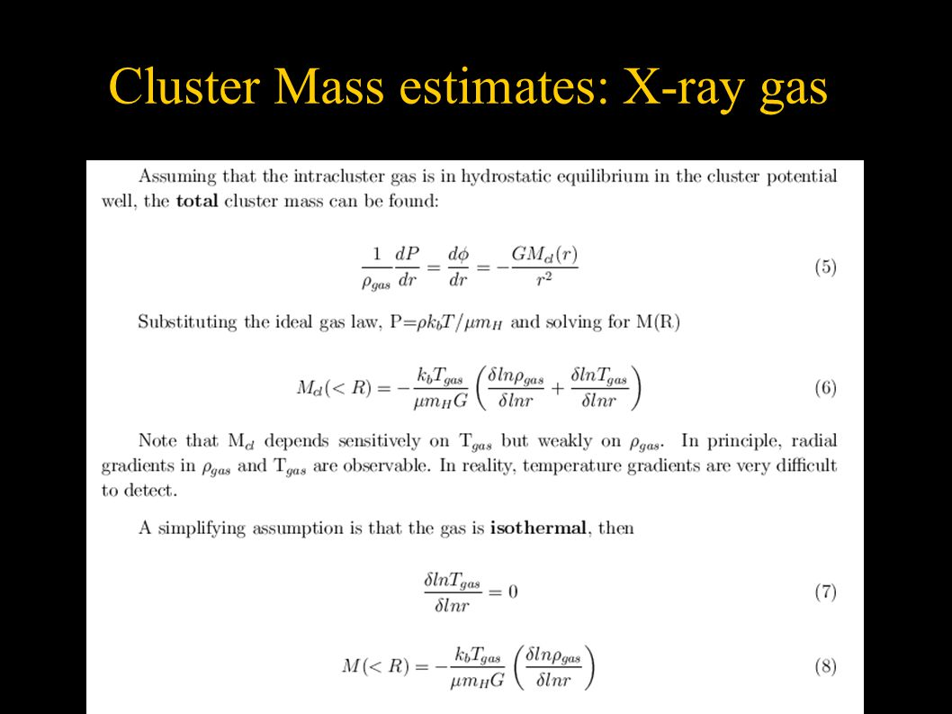 Cluster Mass estimates: X-ray gas