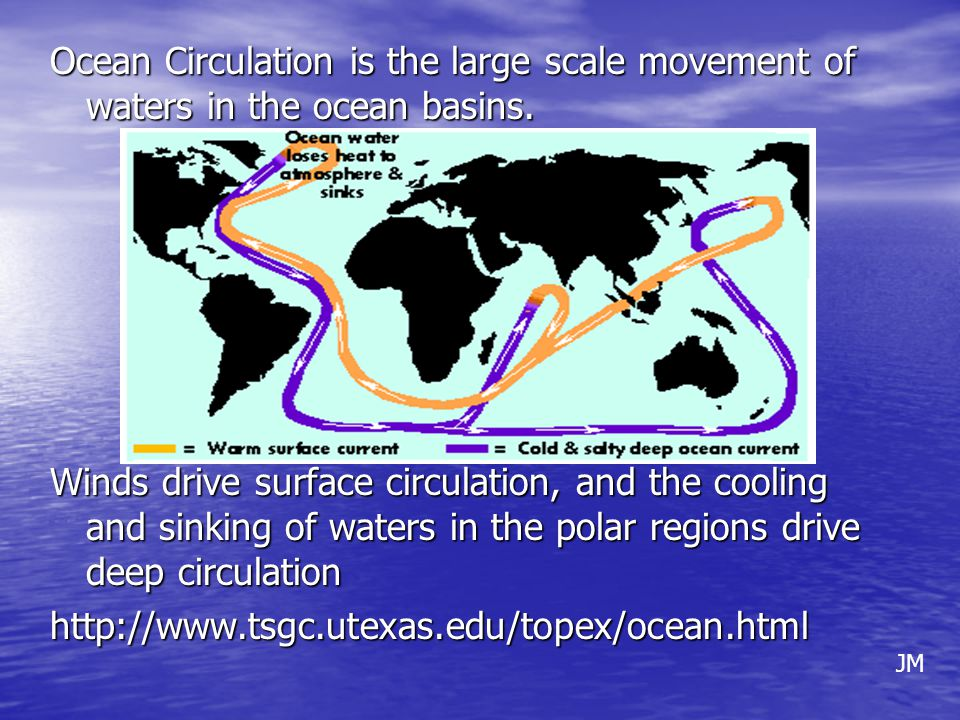 Ocean currents are constantly in motion as shown below: Ocean currents move in many different patterns affected by: wind, salinity in the water, heat, the earths rotation, etc.