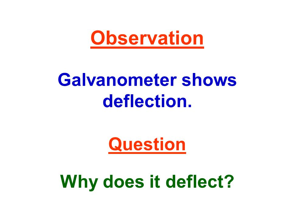 Observation Galvanometer shows deflection. Question Why does it deflect?