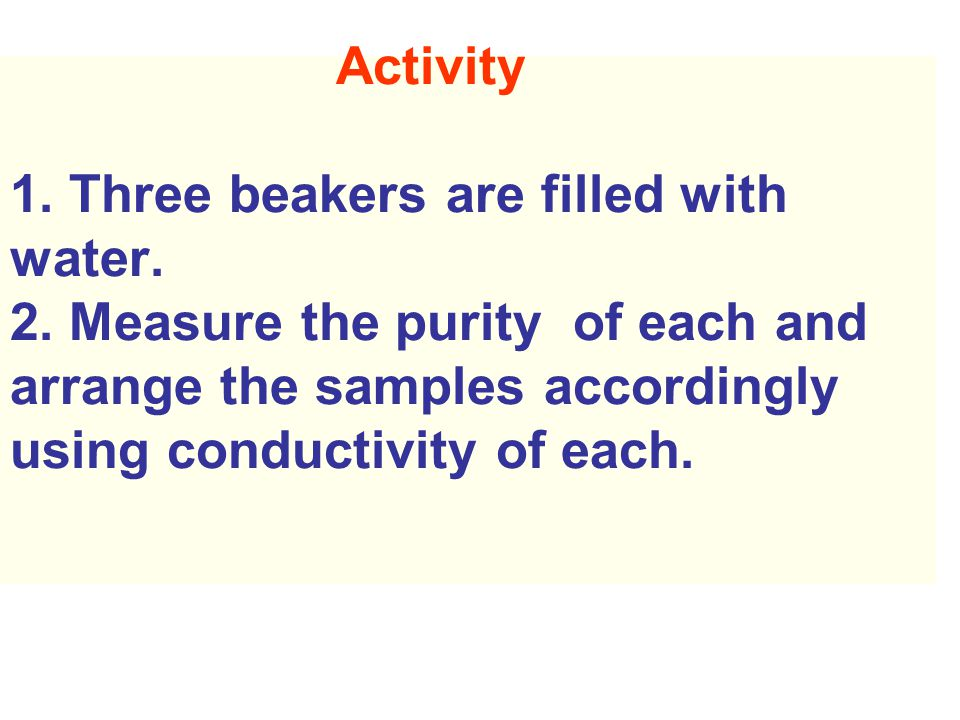 Activity 1.Three beakers are filled with water. 2.