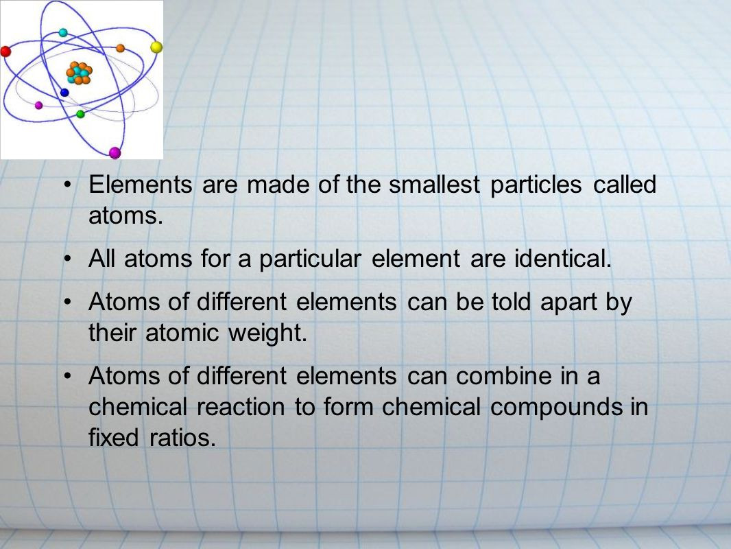 Atomic theory Is a theory of the nature of matter, which states that matter is composed of discrete units called atoms, as opposed to the obsolete notion that matter could be divided into any arbitrarily small quantity.
