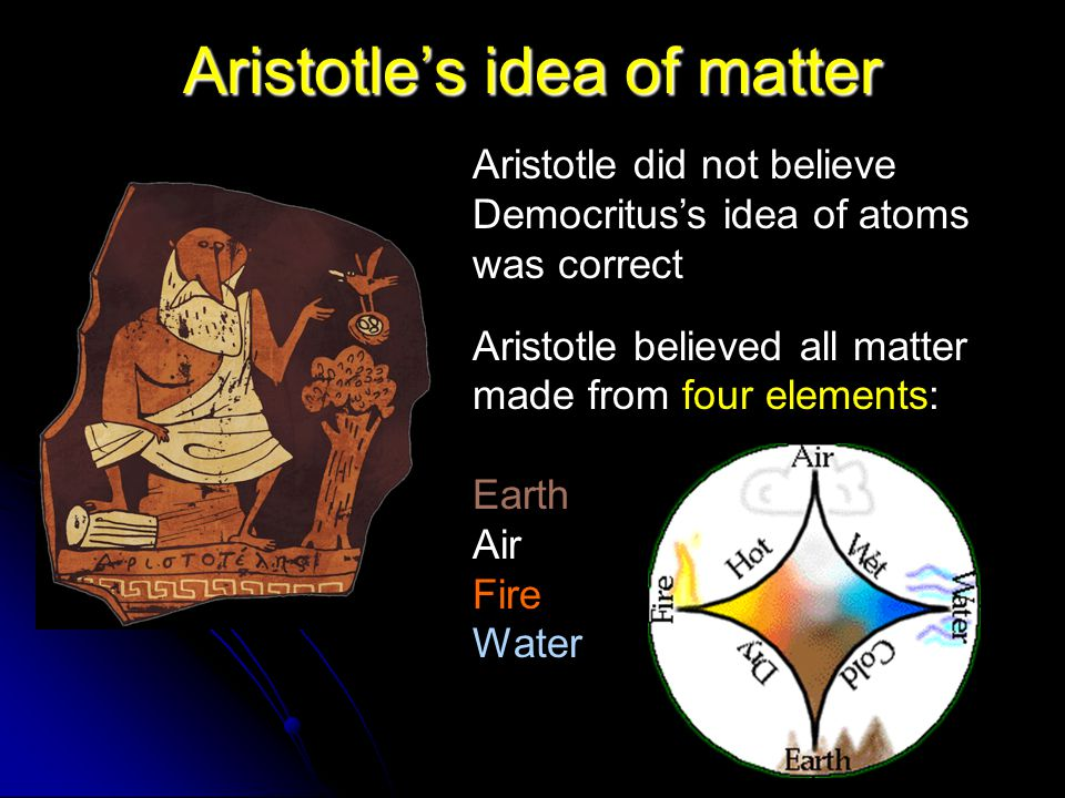 Aristotle's idea of matter Aristotle did not believe Democritus's idea of atoms was correct Aristotle believed all matter made from four elements: Earth Air Fire Water