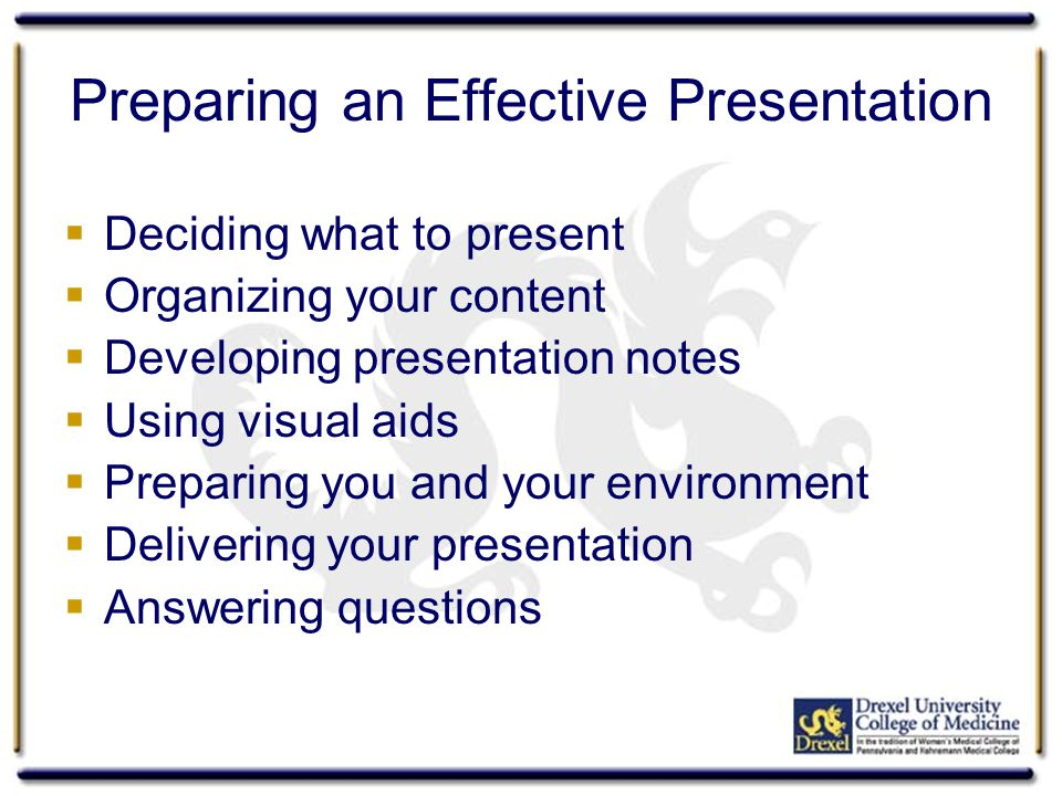 Deciding What to Present  To whom am I presenting.