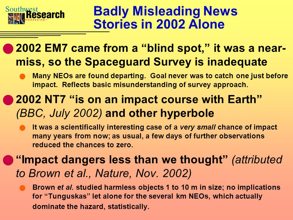 "Badly Misleading News Stories in 2002 Alone 2002 EM7 came from a ""blind spot,"" it was a near- miss, so the Spaceguard Survey is inadequate Many NEOs a"