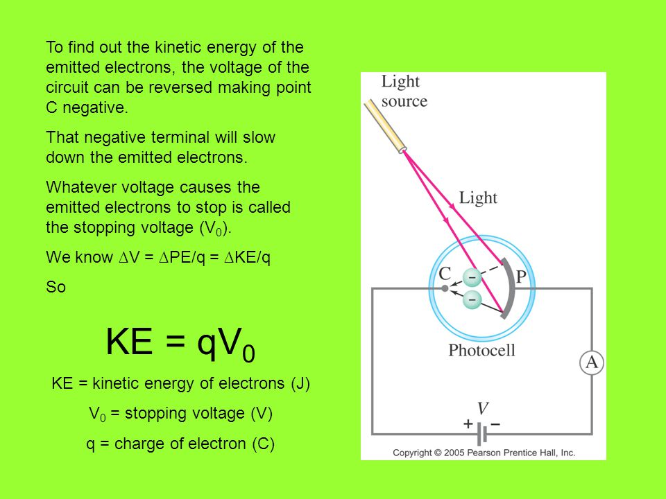 To find out the kinetic energy of the emitted electrons, the voltage of the circuit can be reversed making point C negative.