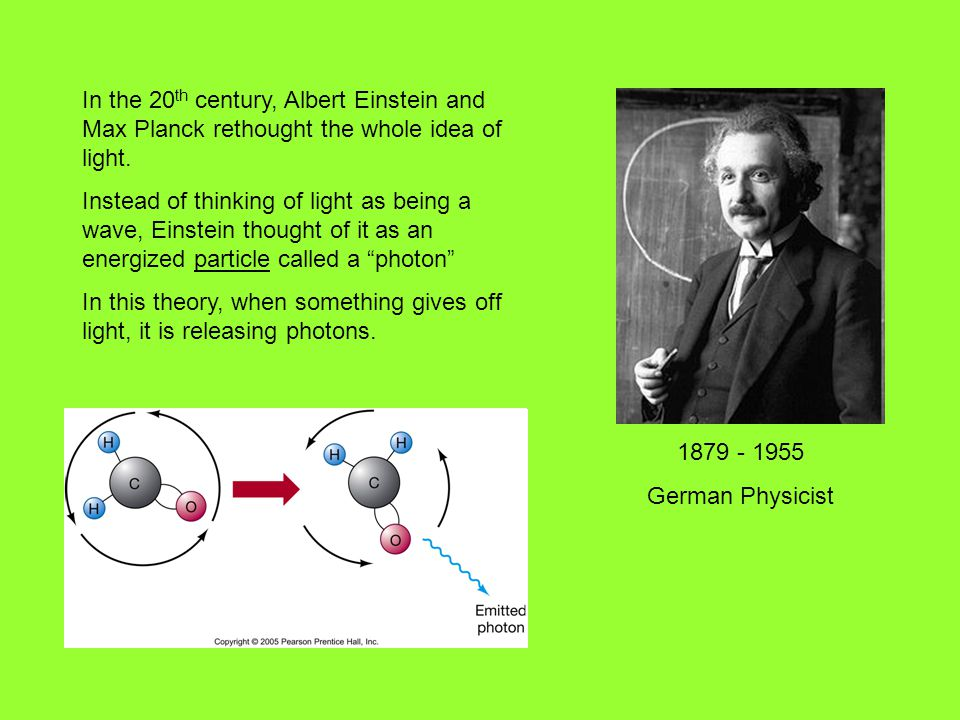 In the 20 th century, Albert Einstein and Max Planck rethought the whole idea of light.