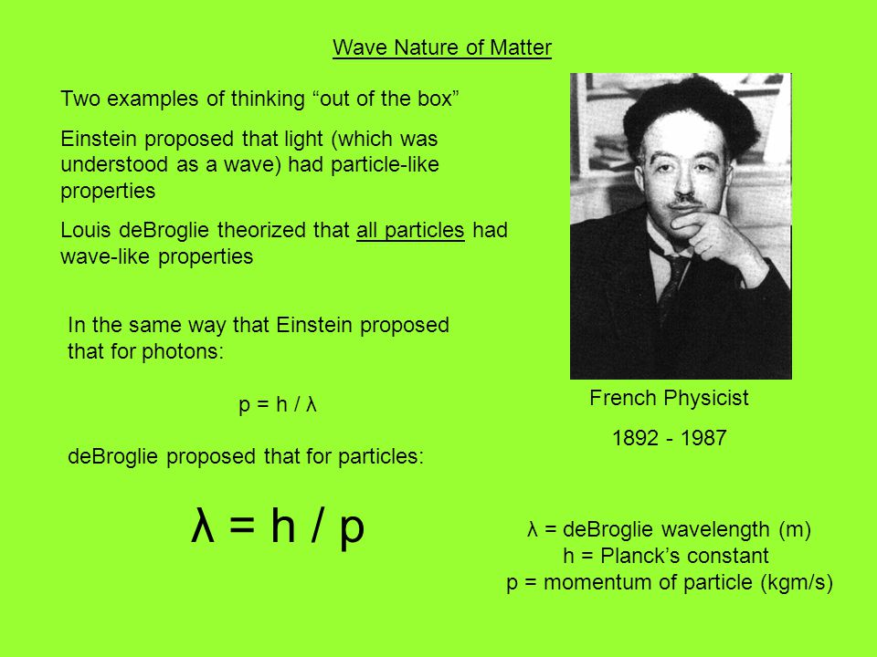 "Wave Nature of Matter Two examples of thinking ""out of the box"" Einstein proposed that light (which was understood as a wave) had particle-like proper"