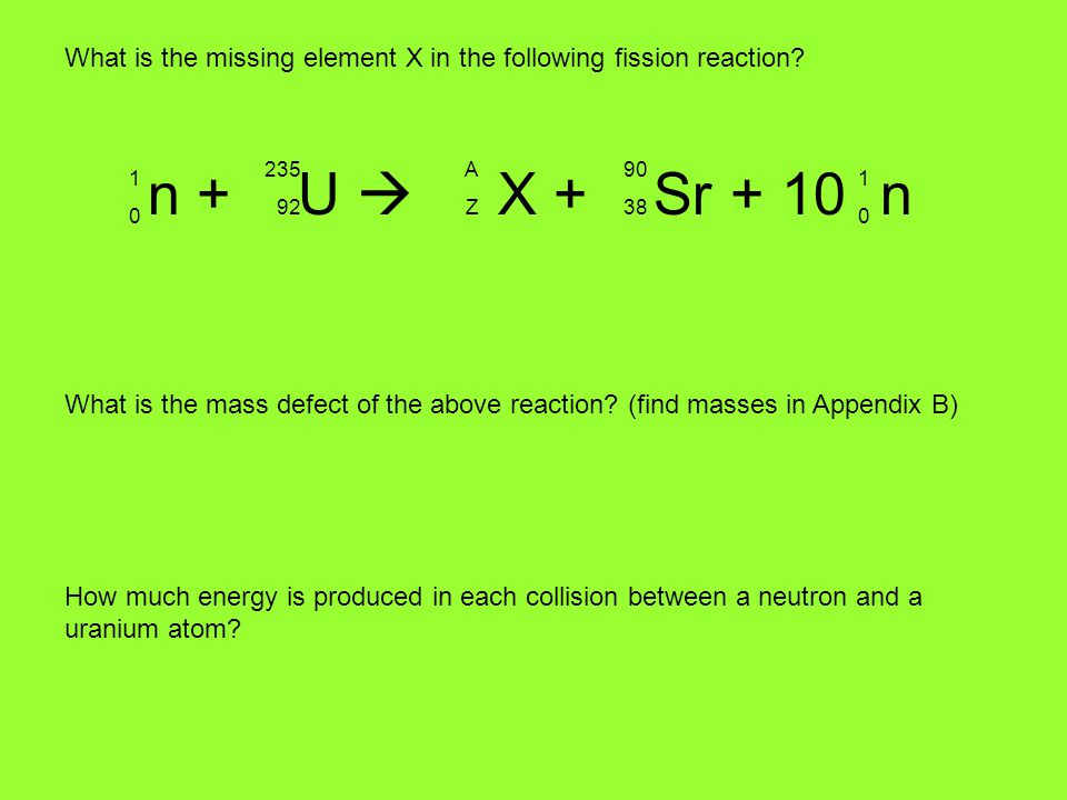What is the missing element X in the following fission reaction.