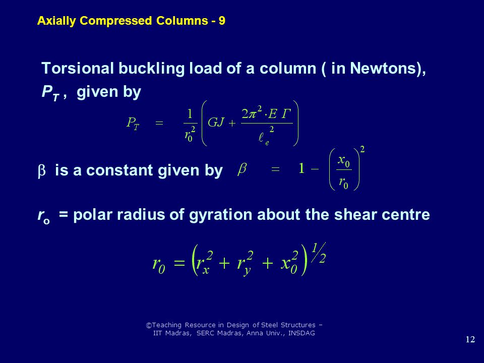 ©Teaching Resource in Design of Steel Structures – IIT Madras, SERC Madras, Anna Univ., INSDAG 12 Torsional buckling load of a column ( in Newtons), P