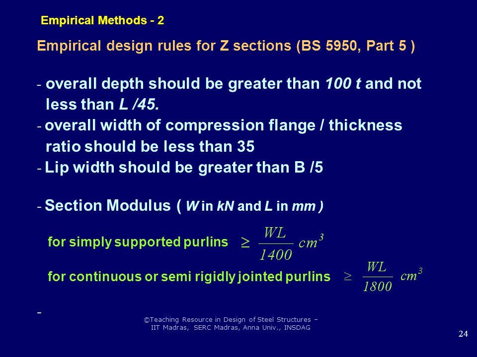 ©Teaching Resource in Design of Steel Structures – IIT Madras, SERC Madras, Anna Univ., INSDAG 24 Empirical Methods - 2 Empirical design rules for Z s