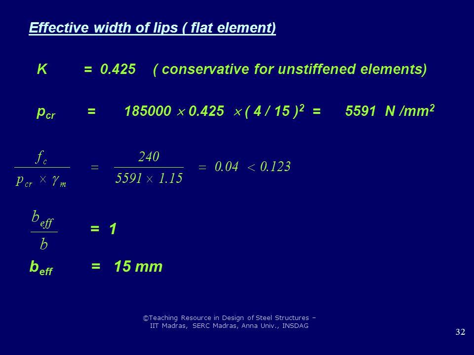 ©Teaching Resource in Design of Steel Structures – IIT Madras, SERC Madras, Anna Univ., INSDAG 32 Effective width of lips ( flat element) K = 0.425 (