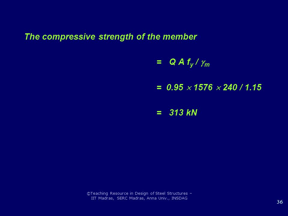 ©Teaching Resource in Design of Steel Structures – IIT Madras, SERC Madras, Anna Univ., INSDAG 36 The compressive strength of the member = Q A f y / 