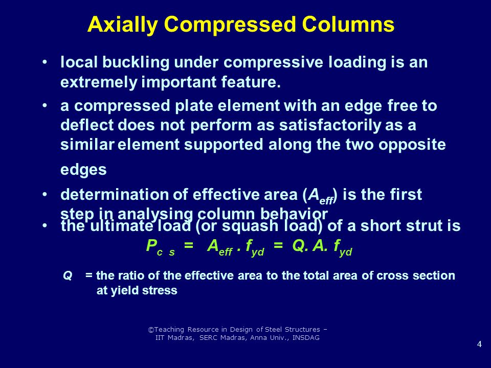 ©Teaching Resource in Design of Steel Structures – IIT Madras, SERC Madras, Anna Univ., INSDAG 4 local buckling under compressive loading is an extremely important feature.