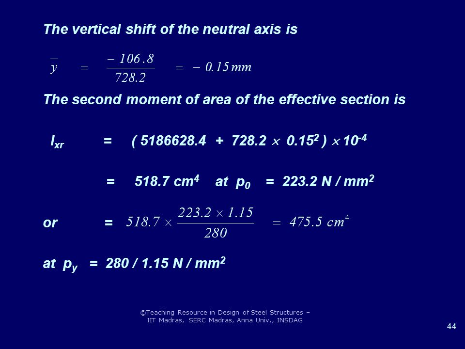 ©Teaching Resource in Design of Steel Structures – IIT Madras, SERC Madras, Anna Univ., INSDAG 44 The vertical shift of the neutral axis is The second