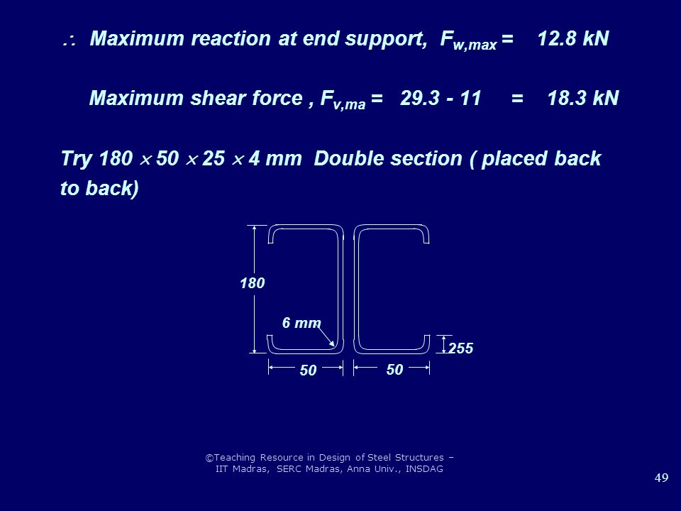 ©Teaching Resource in Design of Steel Structures – IIT Madras, SERC Madras, Anna Univ., INSDAG 49  Maximum reaction at end support, F w,max = 12.8 kN