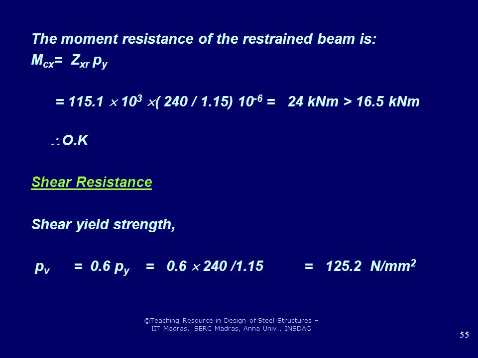 ©Teaching Resource in Design of Steel Structures – IIT Madras, SERC Madras, Anna Univ., INSDAG 55 The moment resistance of the restrained beam is: M c