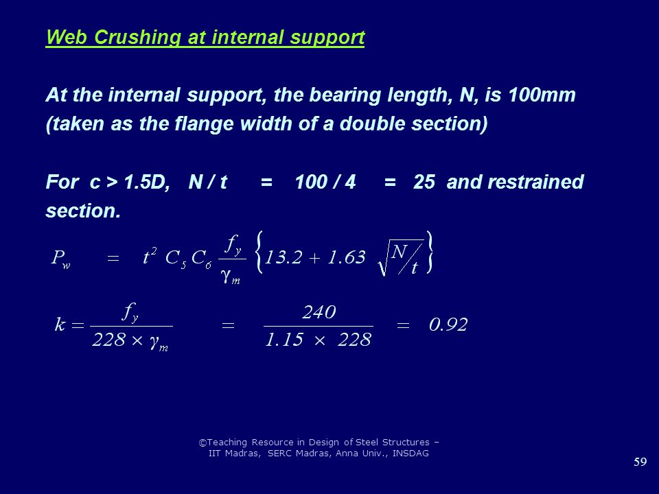 ©Teaching Resource in Design of Steel Structures – IIT Madras, SERC Madras, Anna Univ., INSDAG 59 Web Crushing at internal support At the internal sup