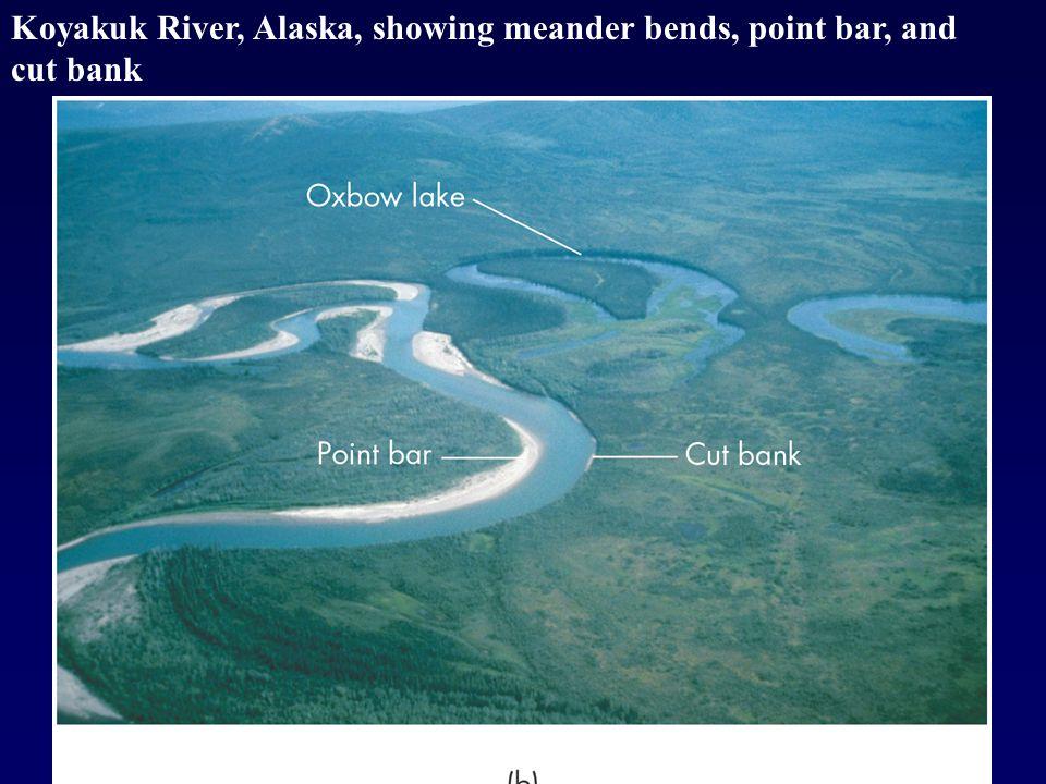 Koyakuk River, Alaska, showing meander bends, point bar, and cut bank