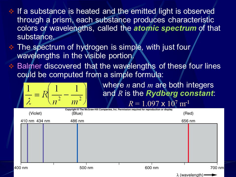  If a substance is heated and the emitted light is observed through a prism, each substance produces characteristic colors or wavelengths, called the