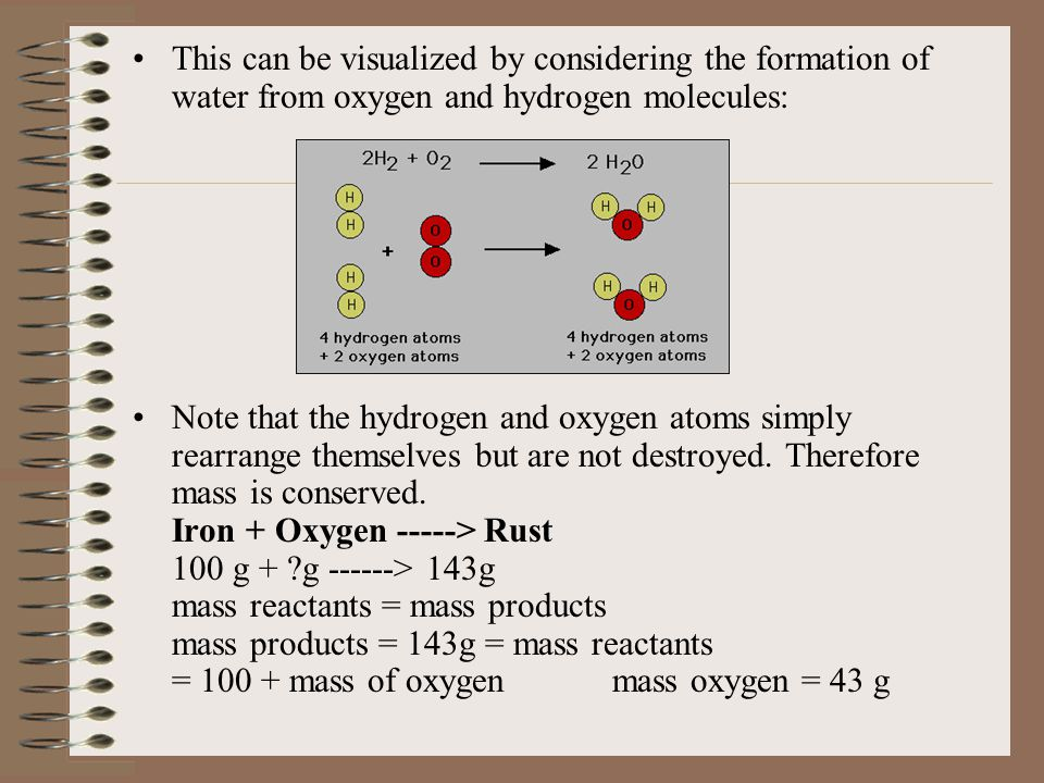 This can be visualized by considering the formation of water from oxygen and hydrogen molecules: Note that the hydrogen and oxygen atoms simply rearrange themselves but are not destroyed.
