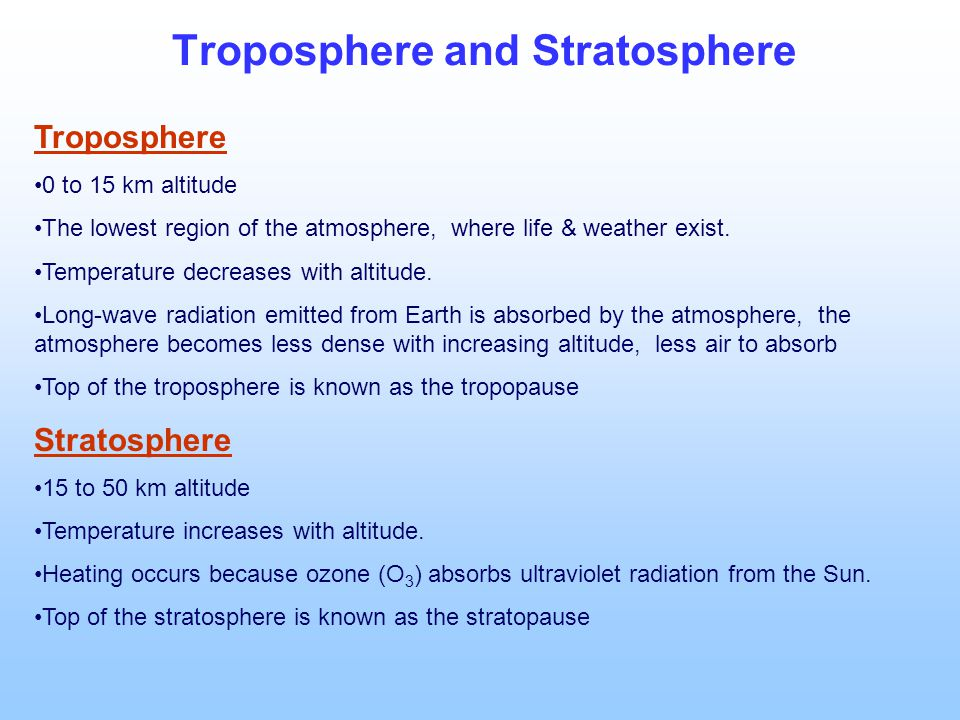 Troposphere and Stratosphere Troposphere 0 to 15 km altitude The lowest region of the atmosphere, where life & weather exist.