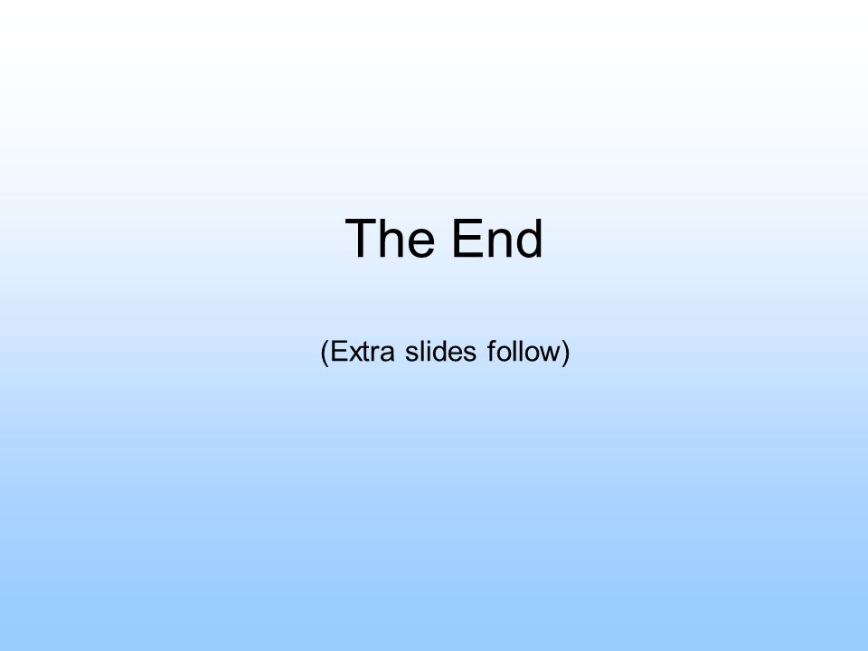 The End (Extra slides follow)