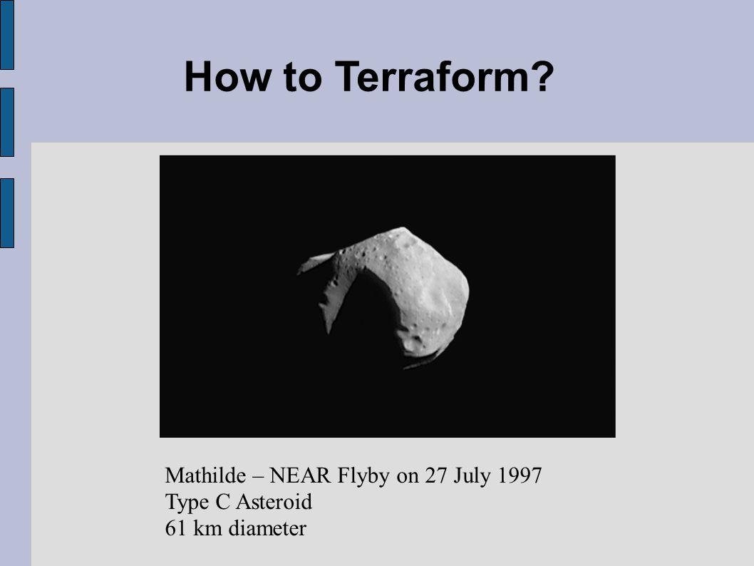 How to Terraform Mathilde – NEAR Flyby on 27 July 1997 Type C Asteroid 61 km diameter