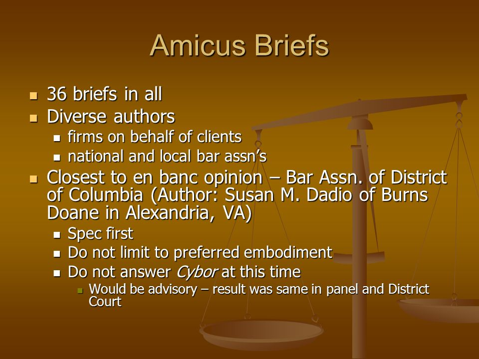 Amicus Briefs 36 briefs in all 36 briefs in all Diverse authors Diverse authors firms on behalf of clients firms on behalf of clients national and local bar assn's national and local bar assn's Closest to en banc opinion – Bar Assn.